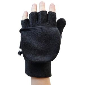 Glove Fleece Flip Top Unisex, Black, XS