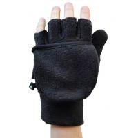 Glove Fleece Flip Top Unisex, Black, XL