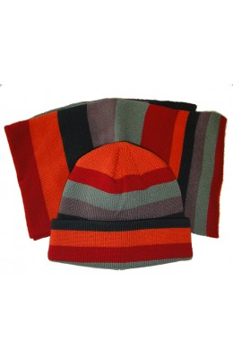 Hat & Scarf Knit - Style 4600, navy-mint-red
