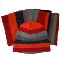 Hat & Scarf Knit - Style 4700, red-orange-tan