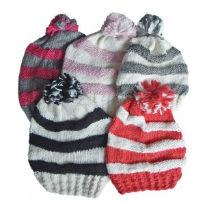 Hat Knit - Style DM01-03, Pink/White, One