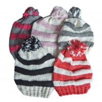 Hat Knit - Style DM01-03, Coral/White, One