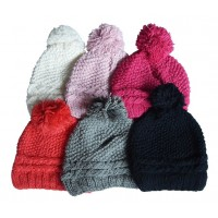 Hat Knit - Style DM01-04, Light Pink, One