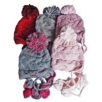Hat Knit - Style DM01-05, Grey/Fucshia, One