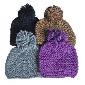 Hat Knit - Style DM01-06, Black, One