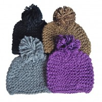 Hat Knit - Style DM01-06, Grey, One