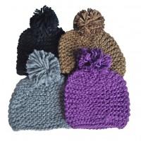 Hat Knit - Style DM01-06, Purple, One