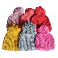 Hat Knit - Style DM01-07, Light Pink, One