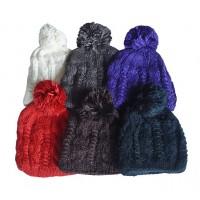 Hat Knit - Style DM01-08, Black, One