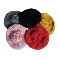 Hat Knit - Style DM01-09, Red, One