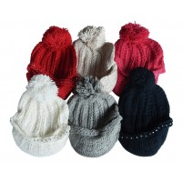 Hat Knit - Style DM01-11, White, One