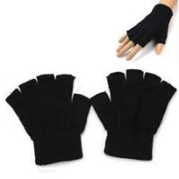 Glove Acrylic half finger, Black, S