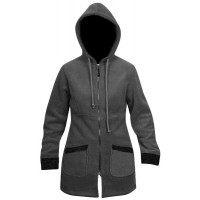 Moa Coat Wool Look Fleece WM, Charcoal., XS