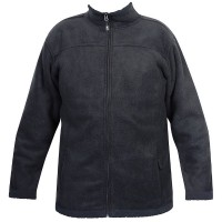 Moa Jacket Wool Look Fleece, Charcoal., 3XL